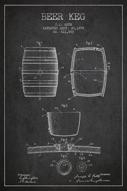 Keg charcoal patent blueprint canvas art print by aged pixel canvases malvernweather Image collections