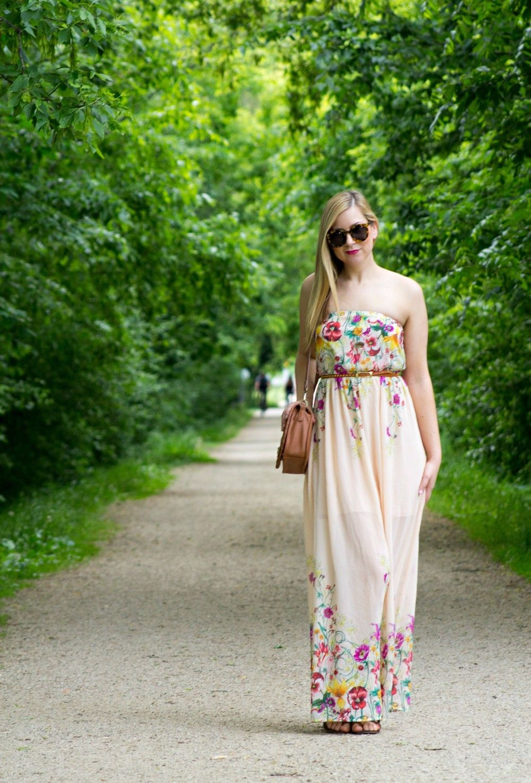 887ccc3356e8e Blush Floral Maxi Dress with Tan Handbag and Sandals, Karen Walker Super  Duper Strength Sunglasses