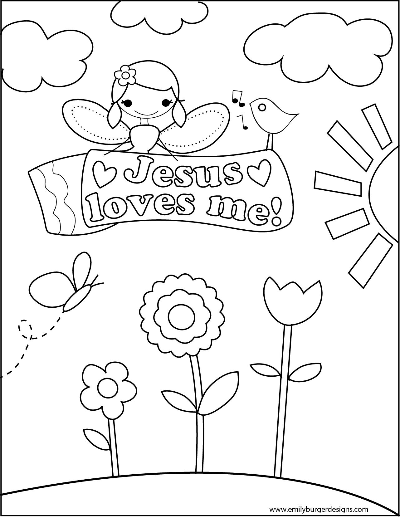 coloring_sheet_jesus_loves_me_girl  love coloring