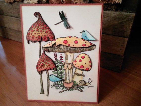 Woodland Mushroom Scene With Little Creatures Blank by cardstocker