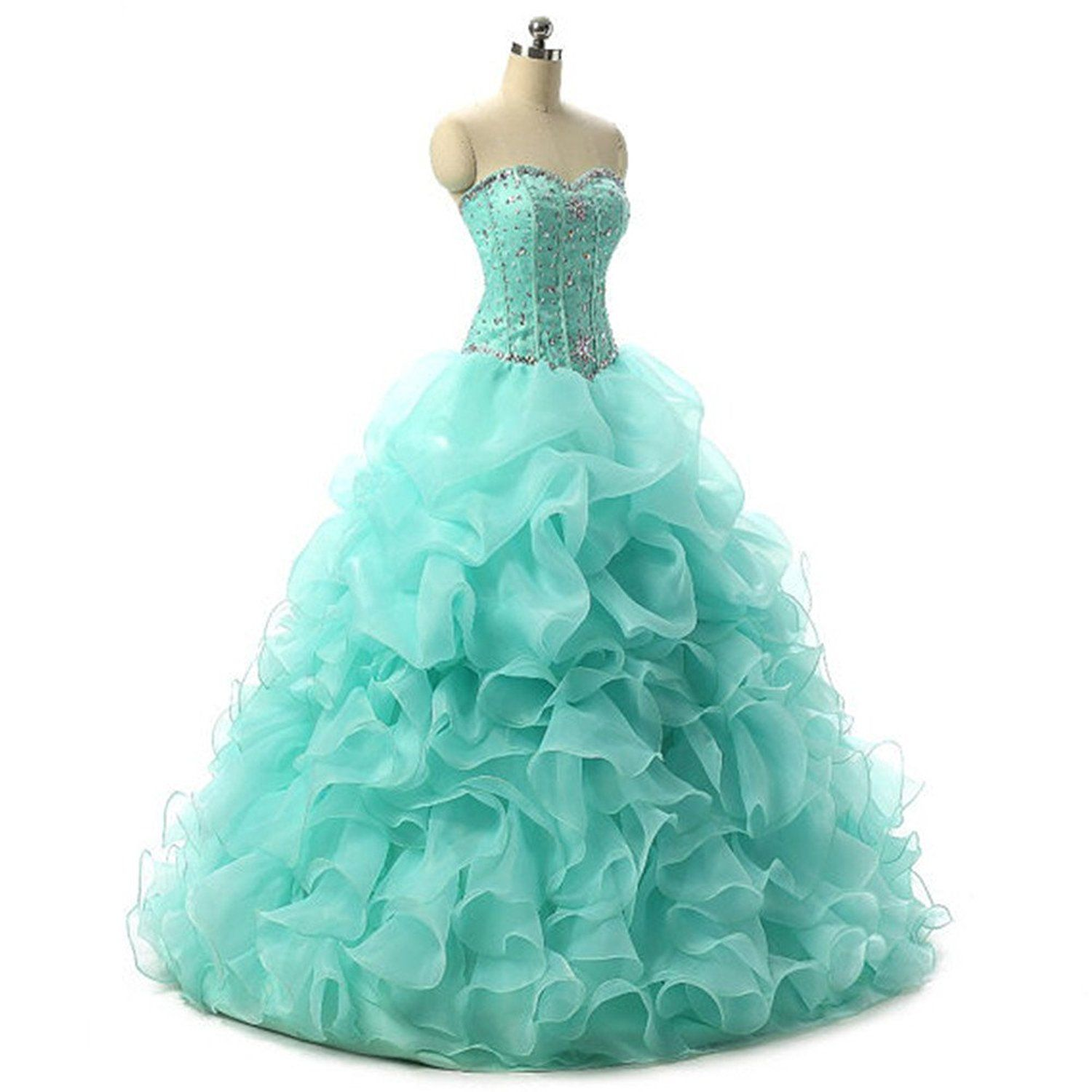 Crystal Dresses Women\'s Sweetheart Organza Prom Dresses Ball Gowns ...