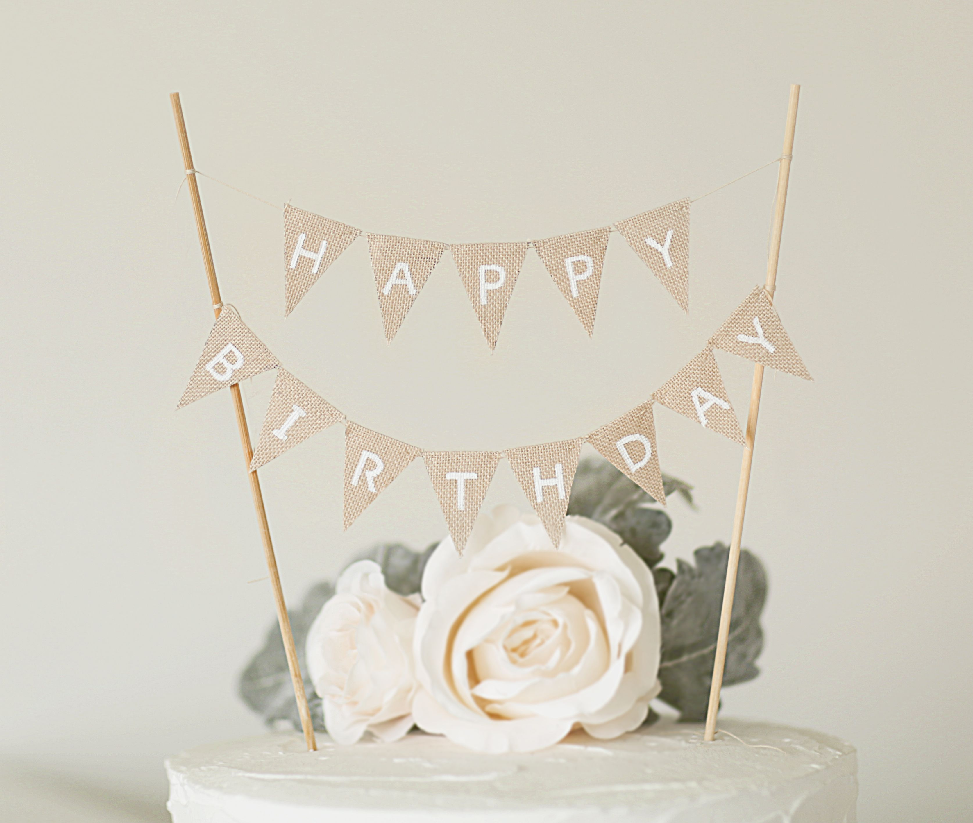 Happy Birthday Banner Linen Cake Toppers Rustic Topper Photo