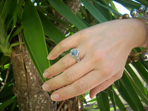 Wire Wrapped Ring//Silver Craft Wire//Light Blue Ring// Size | Group ...