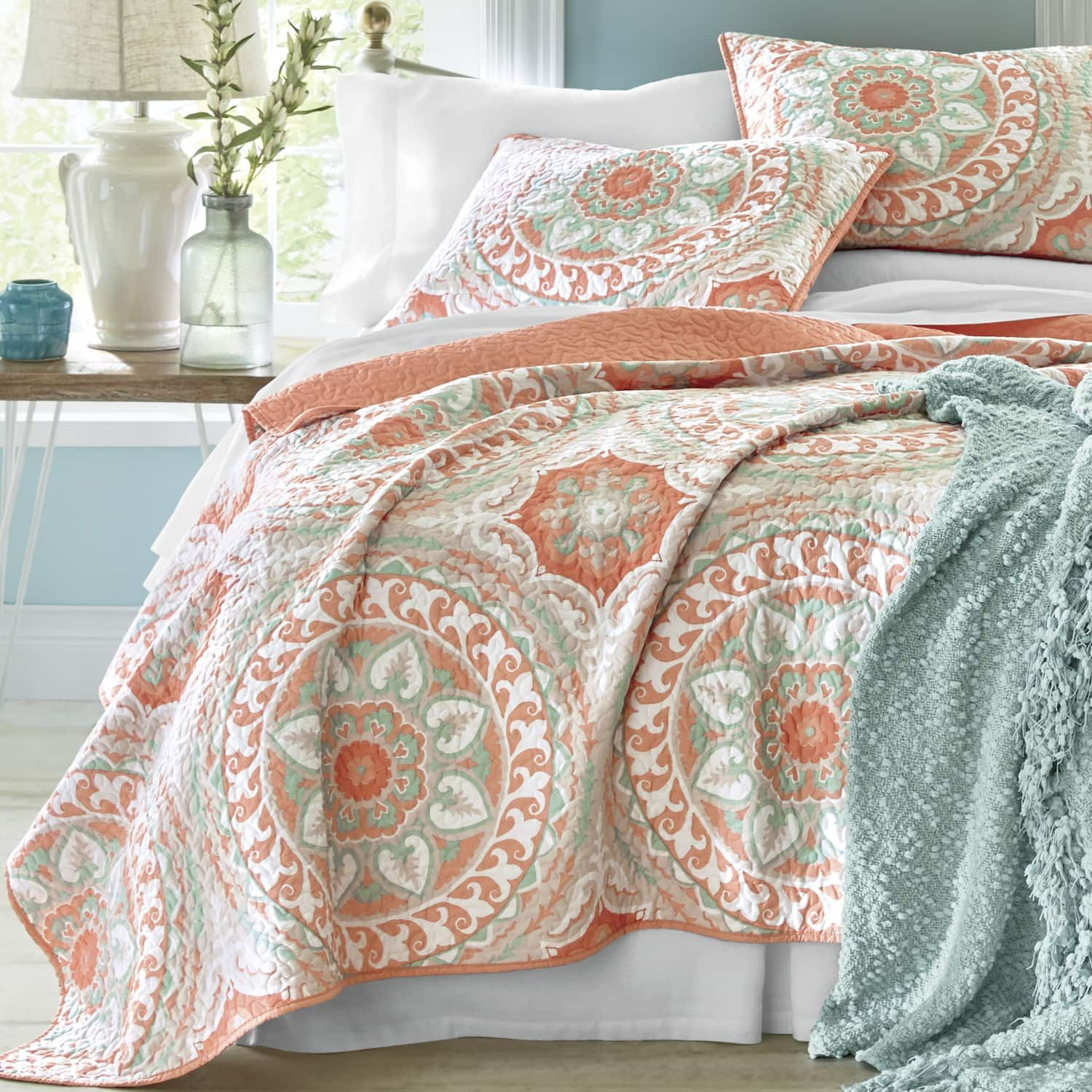 Serenity Coral Quilt And Sham Country Door Country Bedding Sets Coastal Bedrooms Coral Quilt