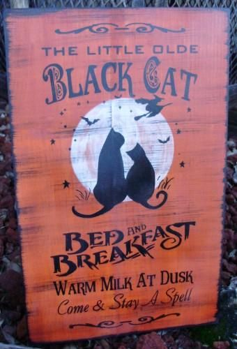 Black Cats Bed and Breakfast Halloween Sign Decorations Witches - halloween decorations witch