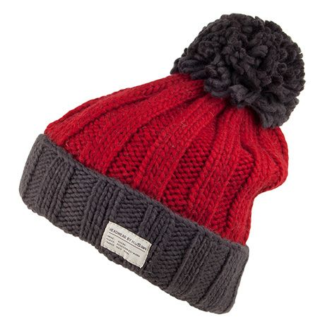 eb183230c42 Kusan Hats Ribbed Bobble Hat - Red-Charcoal from Village Hats ...