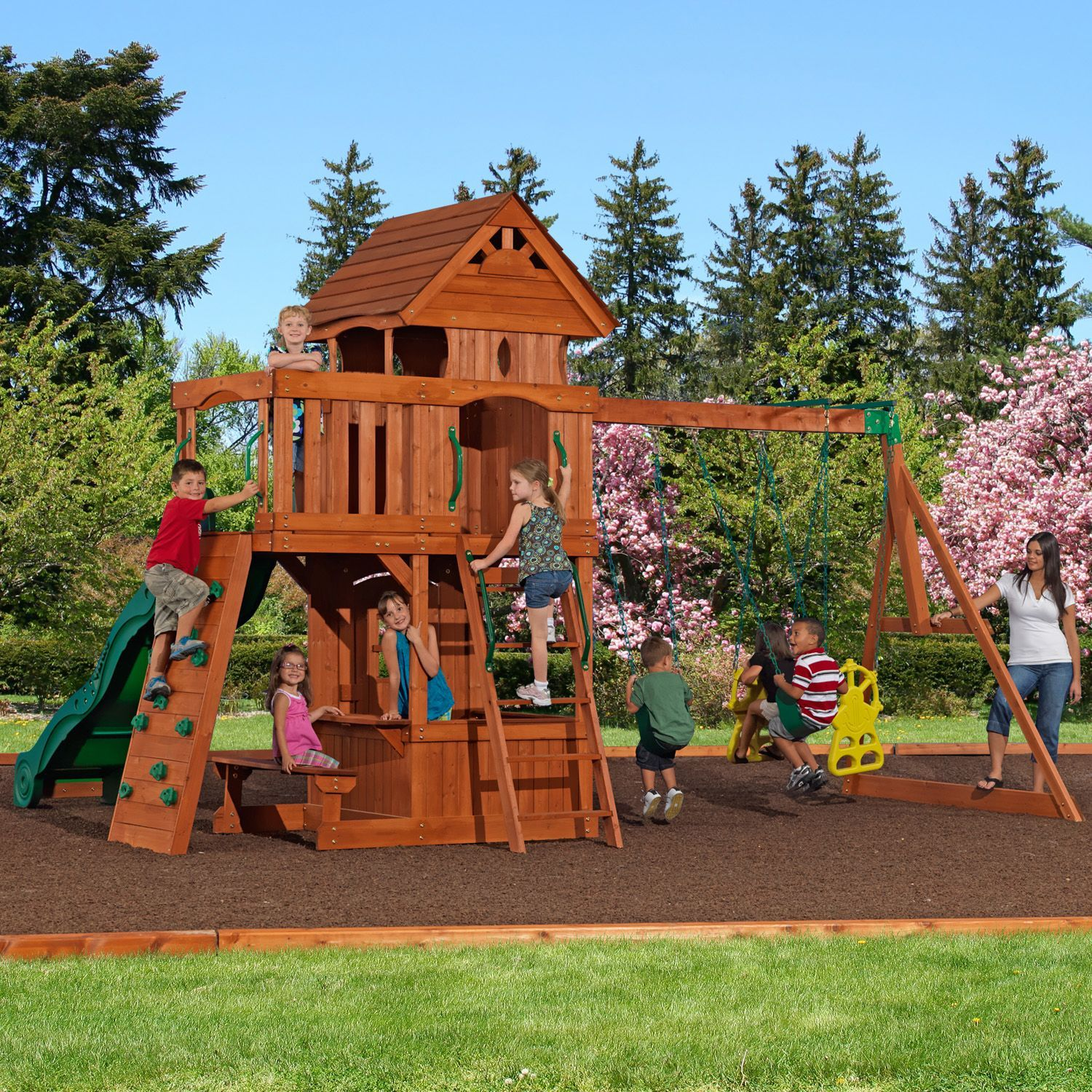 Backyard Discovery Monterey Cedar Swing Play Set Outside Cedar