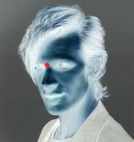 Look at the red dot for 40 seconds without blinking. Blink rapidly like 5-10 times at a white wall and then just stare....Crazy right?