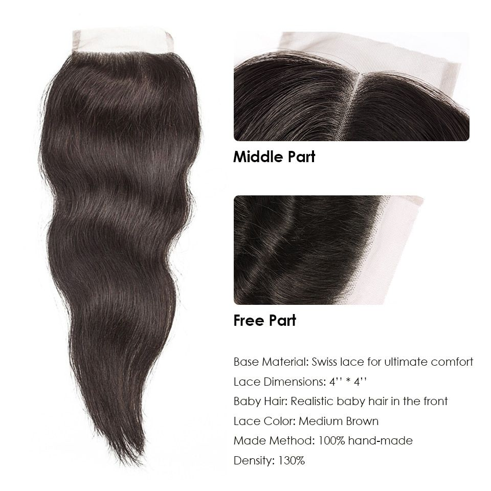 hj weave beauty bundles with closure natural straight raw