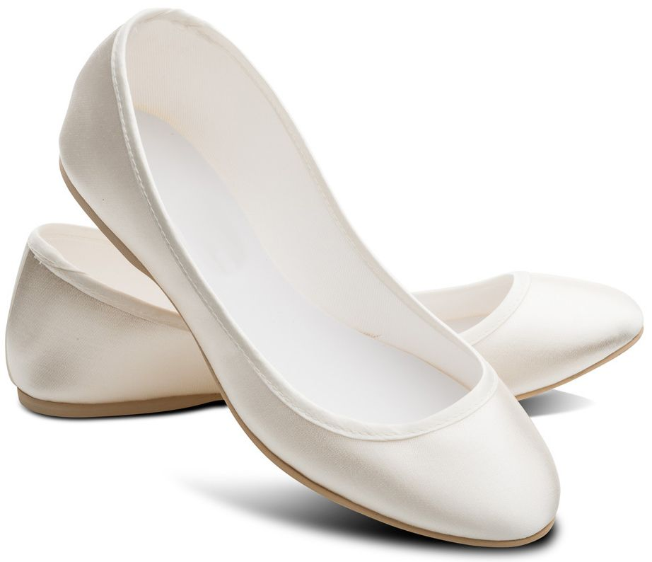 Flat Dyeable Ivory Satin Opera Shoes Pumps
