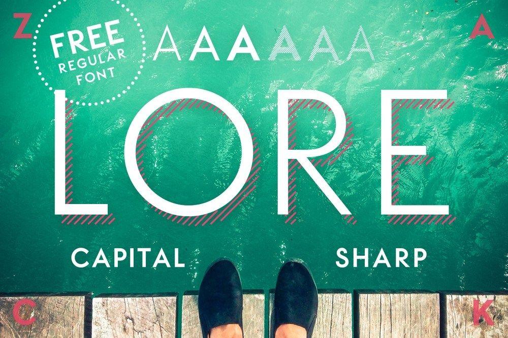 LORE Free Geometric Font Capital fonts, Geometric font