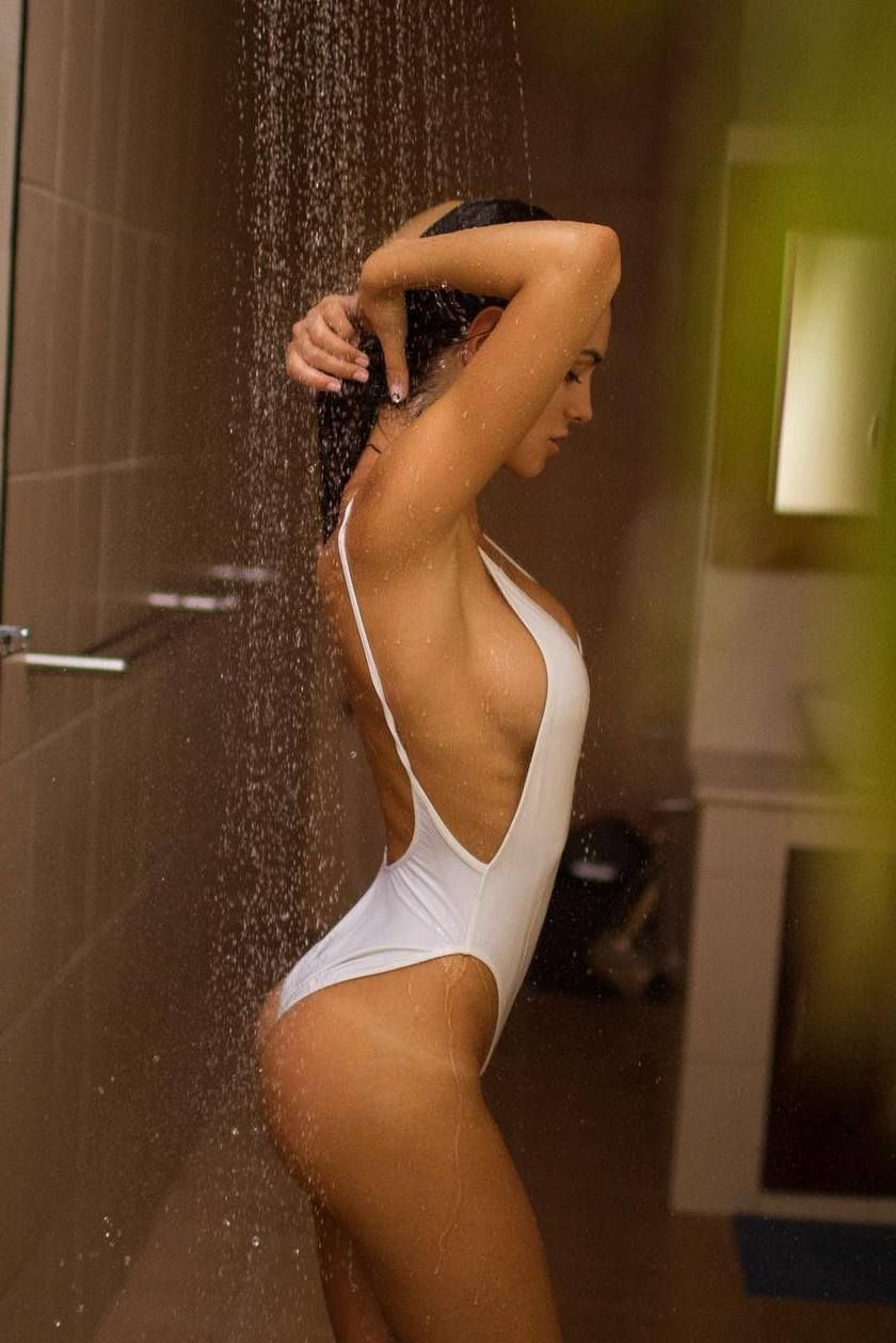 Girls tits shower wash