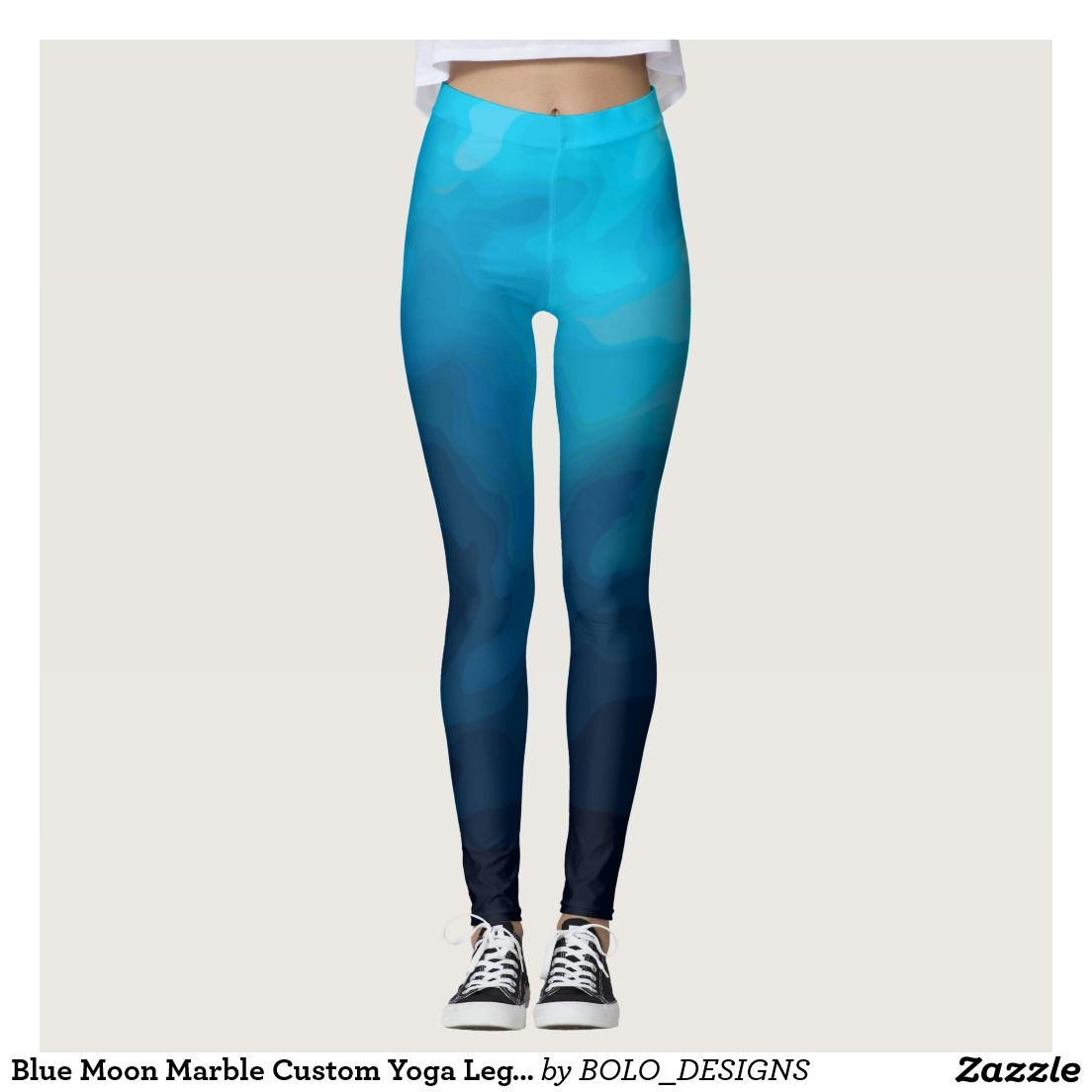 Blue Moon Marble Custom Yoga Leggings by BOLO Designs.
