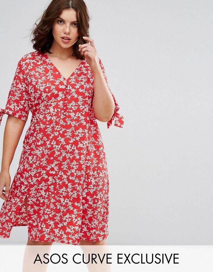 b9a9bf71e5 ASOS Curve ASOS CURVE Wrap Midi Dress in Red Floral Print