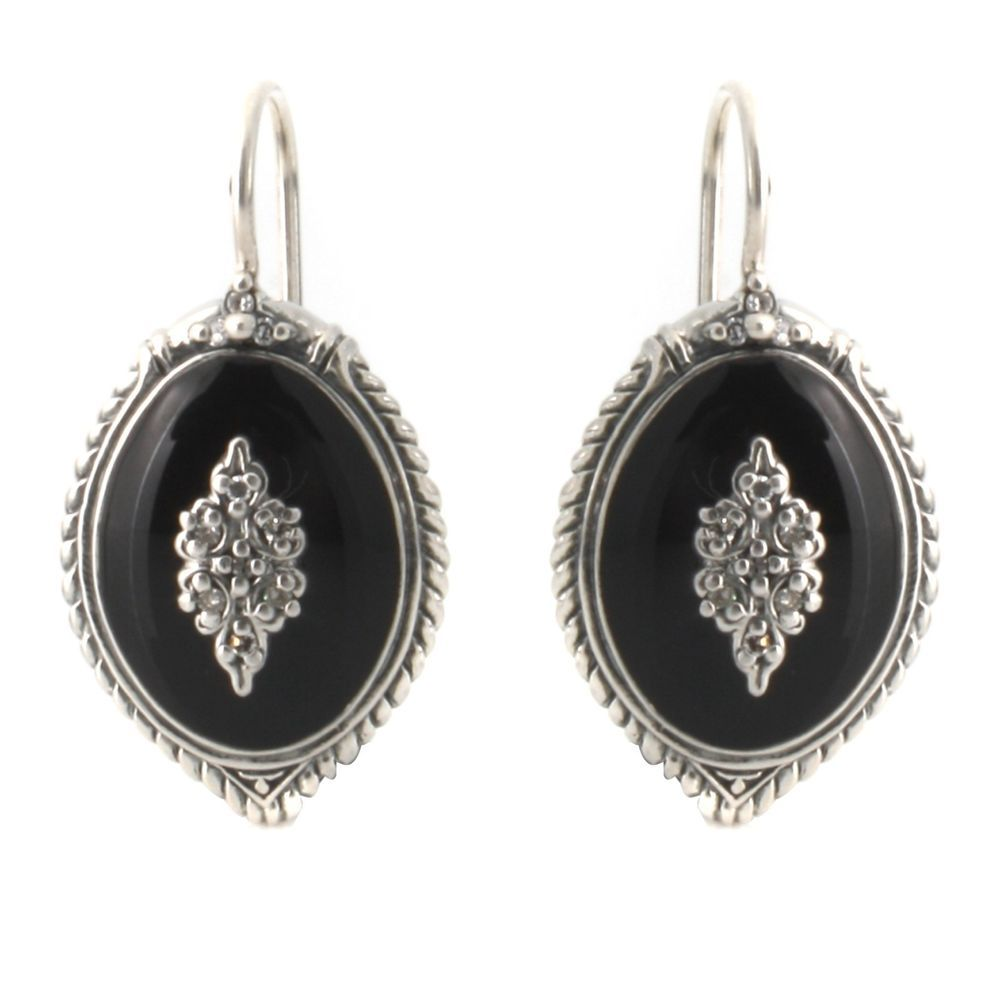 Stephen L.Singer Sterling Black Enamel w/ Diamond Accents Earrings R565  #StephenLSinger #DropDangle