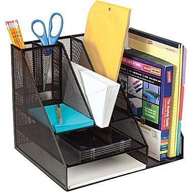 Staples Metal Mesh Giant Desk Organizer Black With Images Desk Organization Office Organization Desktop Organization