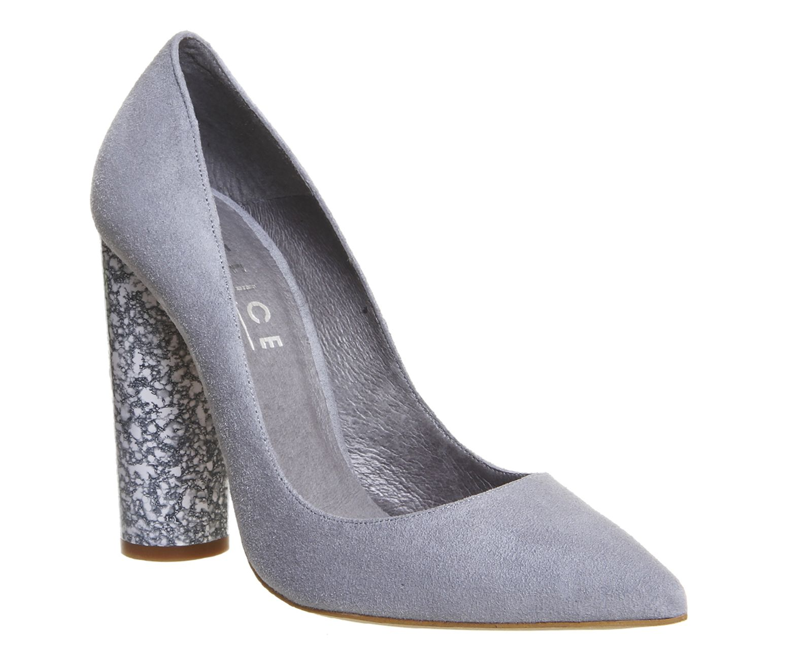 09b2bd3cb38 Buy Grey Suede Marble Heel Effect Office Amaze Cylindrical Heeled Courts  from OFFICE.co.uk.