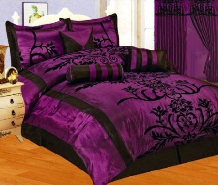 Purple Black Flock Satin Comforter Set