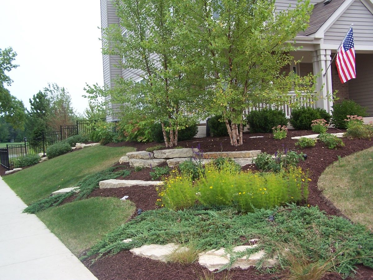 Corner Design Outcropping Stone River Birch Aurora Il Front Yard Garden Landscape Design Terraced Landscaping