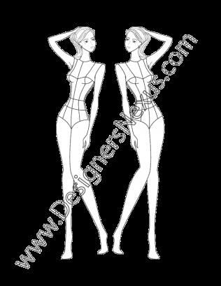 Female Fashion Croqui Template V16 Three Quarter View Fashion