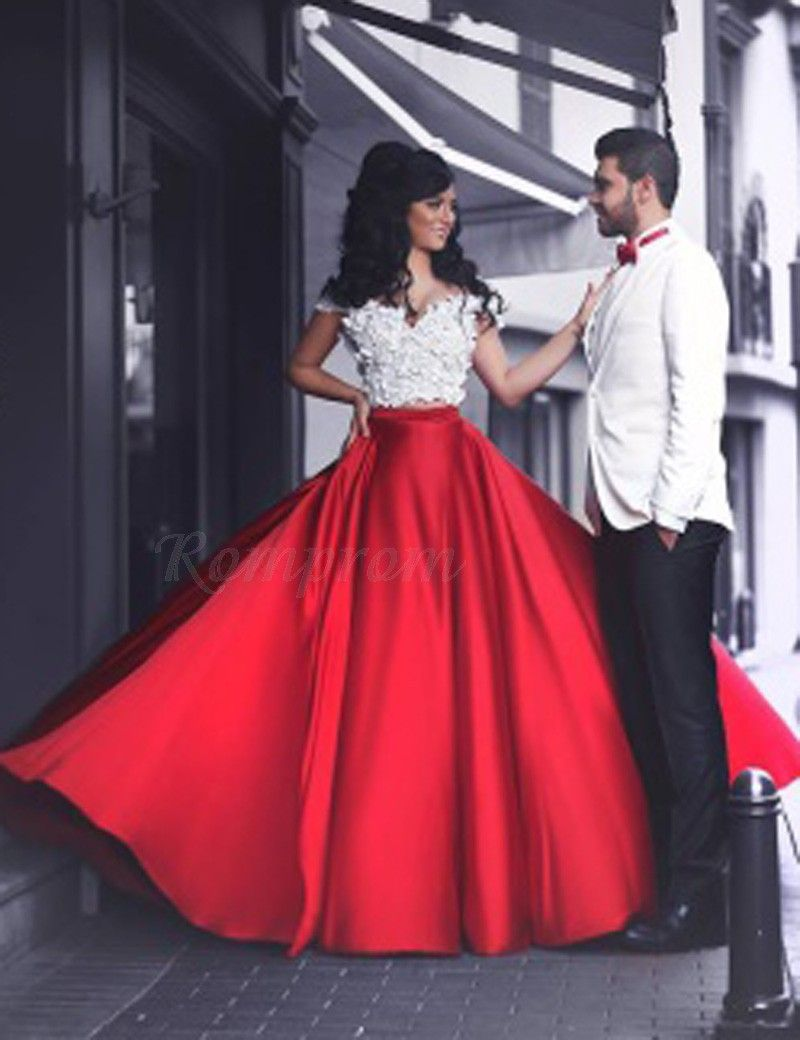 Aline off the shoulder short sleeves long red prom dress with lace