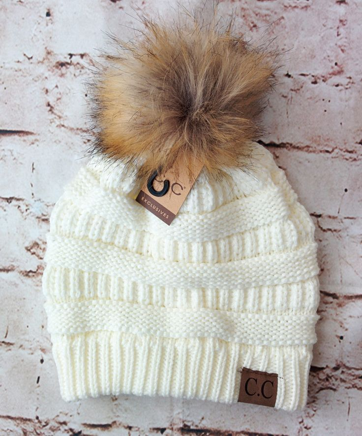 Fur Pom Pom CC Beanie Hats | Gorros, Invierno y Tejido