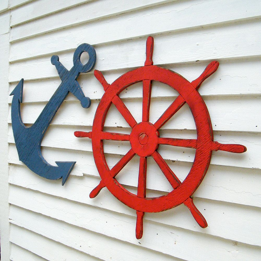Photo of Large Ships Wheel Wooden Nautical Decor Helm Coastal Beach Decor Outdoor Patio Wall Decor Lake House Decor Kids Room Decor