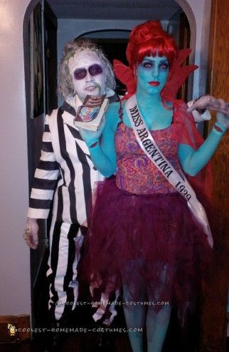 Beetlejuice And Miss Argentina Couple Costume Couple Halloween Costumes Funny Couple Halloween Costumes Cute Couple Halloween Costumes