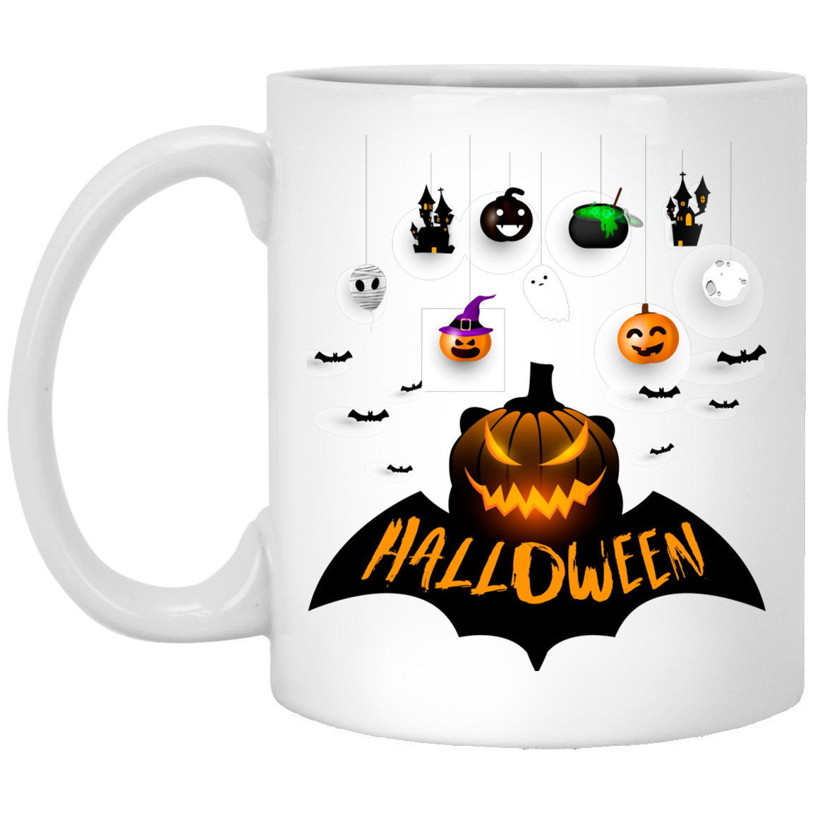 Happy Pumpkin Scary Face Gift Halloween Mug (With images
