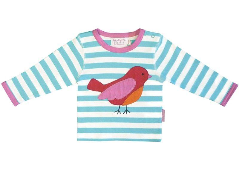 Toby Tiger Langarm T-Shirt mit Vogel | Applikationen