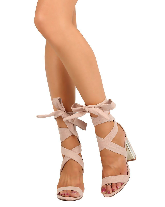 766f50bbfca Liliana FB58 Women Faux Suede Open Toe Plated Chunky Heel Ankle Wrap Sandal  - Nude (