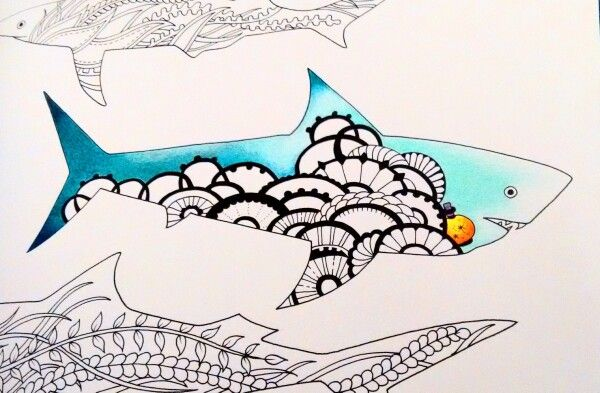Lost Ocean shark in progress  #lostocean #coloringbook #lostoceancoloringbook #johannabasford
