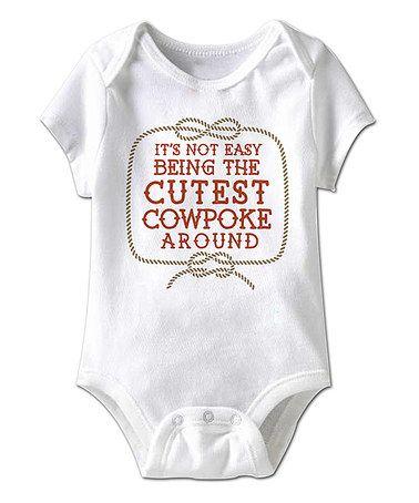 6bf5a6a80 Look at this #zulilyfind! White 'Cutest Cowpoke' Bodysuit - Infant  #zulilyfinds