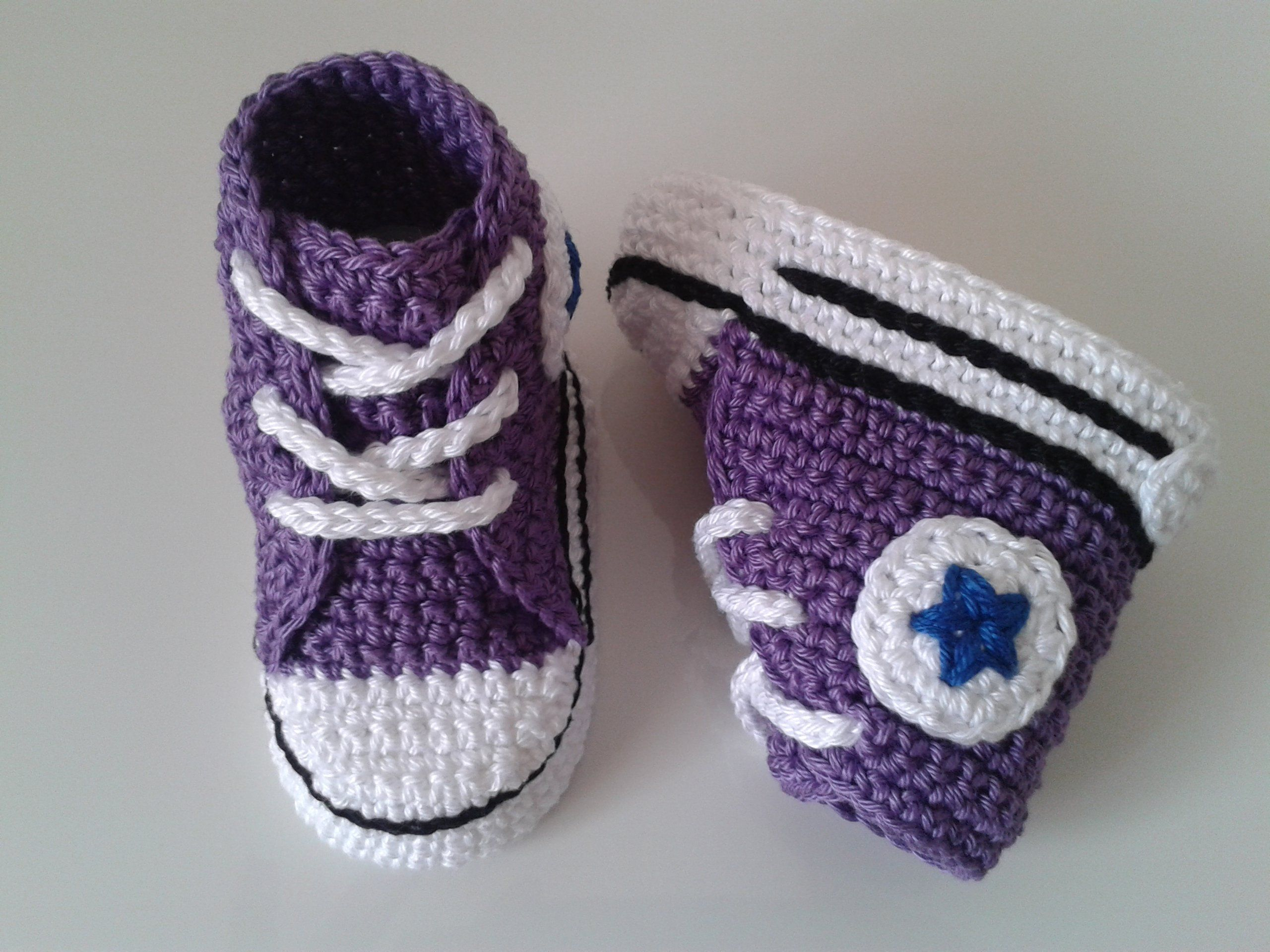 Baby crochet sneakers Converse style purple color
