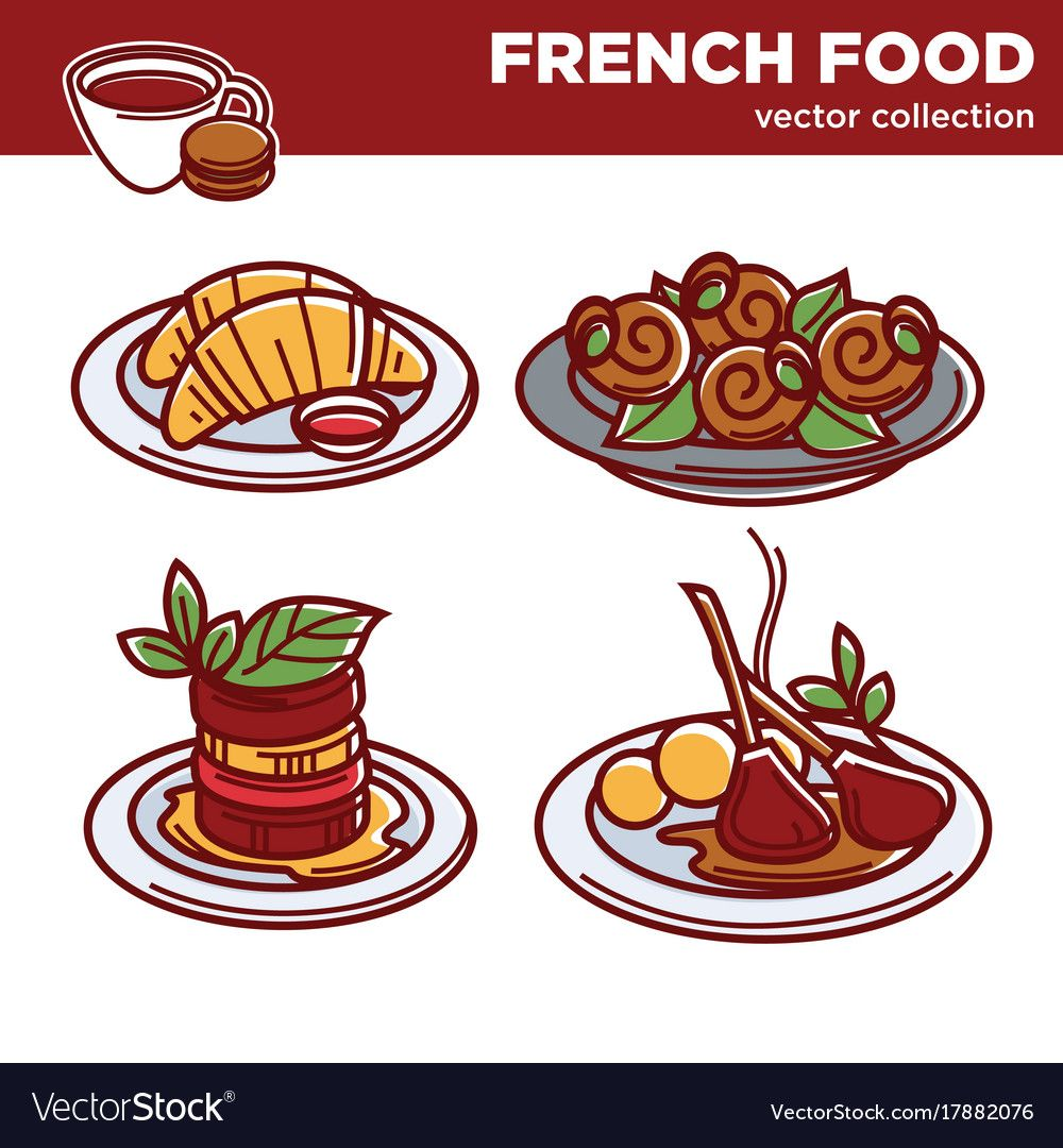 Delicious French Food Collection Of Vector Image On In 2020 French Food Vector Cartoons Vector