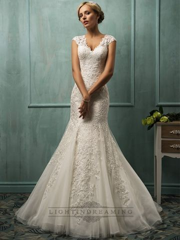 Lace wedding dresses 2018 Fit and Flare Cap Sleeves V-neck Lace ...