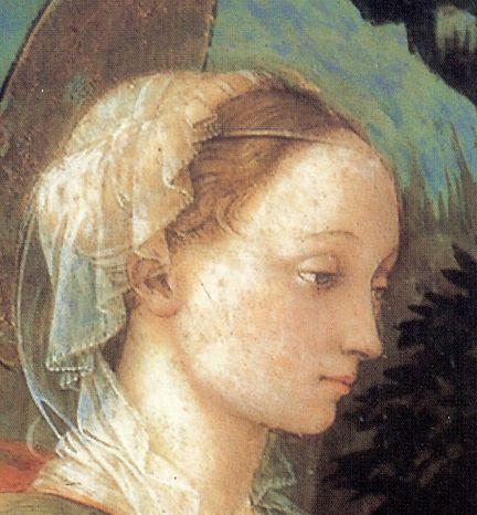 FILIPPO LIPPI (Fra) - La Madonna dona il cingolo a San Tommaso, Santi e benefattrice, dettaglio Santa - 1455-65 - Museo Civico, Prato