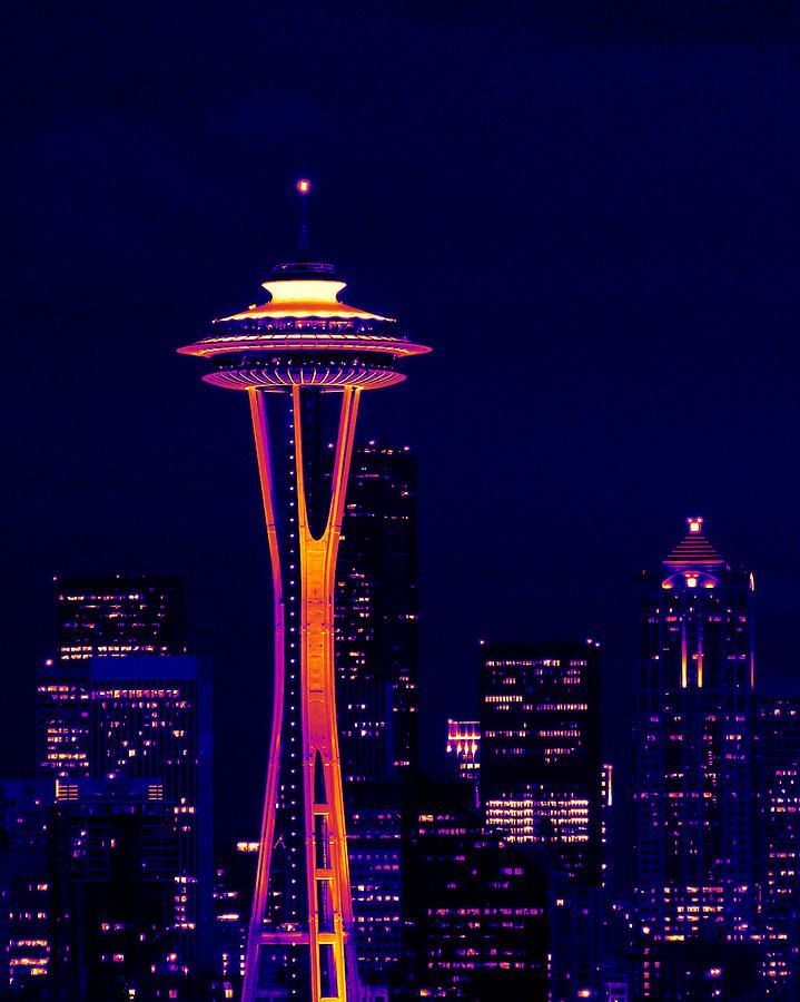 Space Needle At Night In Thermal Color By Mark J Seefeldt Space