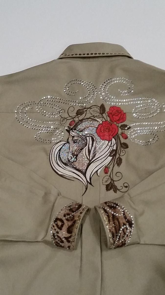 Western shirt with horse free embroidery design machine