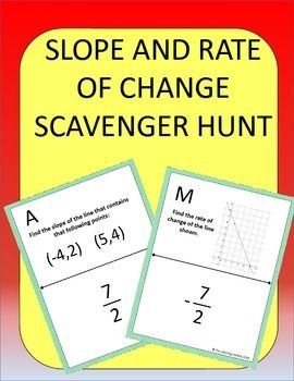 slope and rate of change scavenger hunt worksheets students and change. Black Bedroom Furniture Sets. Home Design Ideas