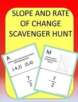 slope and rate of change scavenger hunt worksheets students and change. Black Bedroom Furniture Sets. Home Design Ideas