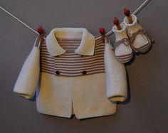 layette ensemble mérinos 1-3 mois neuf tricoté main gilet et chaussons : Mode Bébé par com3pom