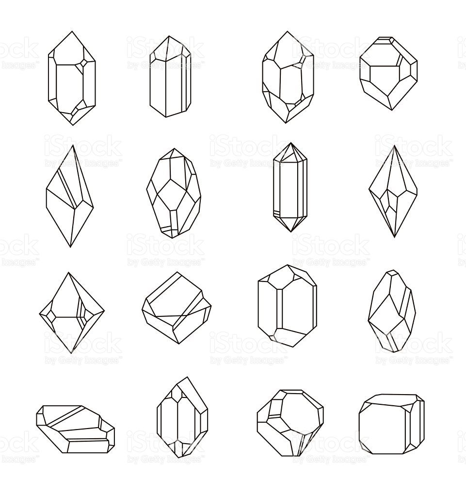 Set of non-linear crystals. Minerals from landfills for