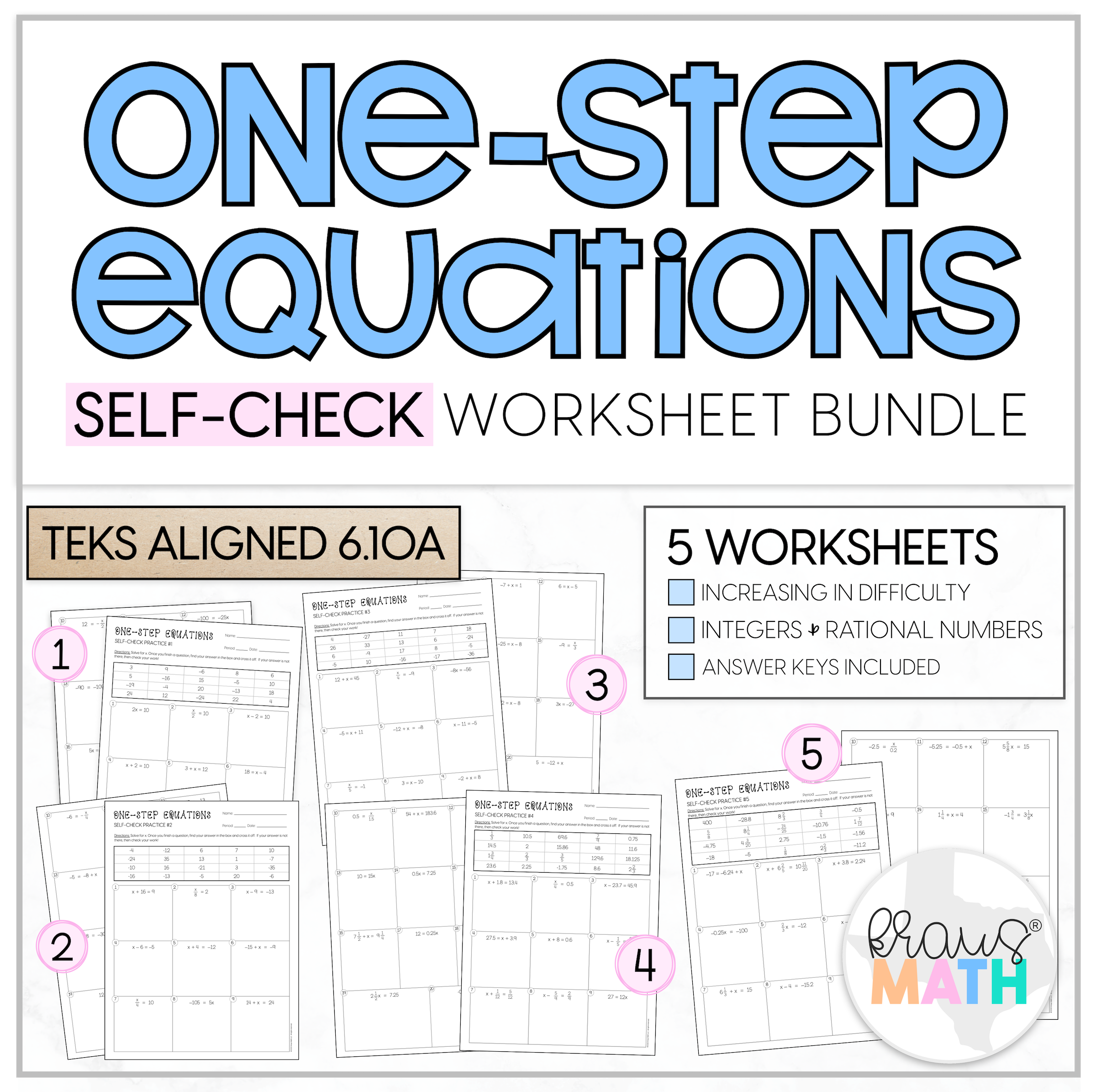 One Step Equations Self Check Worksheet Bundle 6 10a