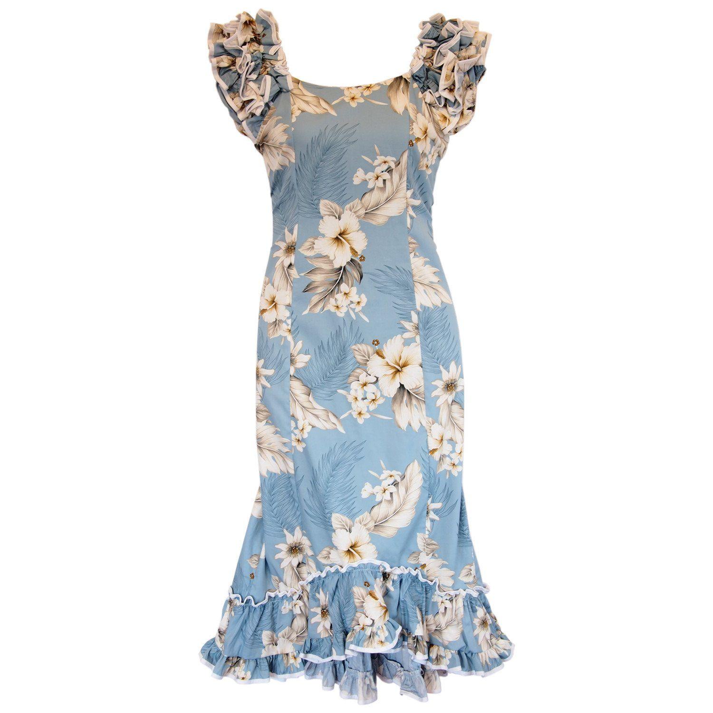 Sky blue hawaiian meaaloha muumuu dress with sleeves for Hawaiian wedding dresses with sleeves