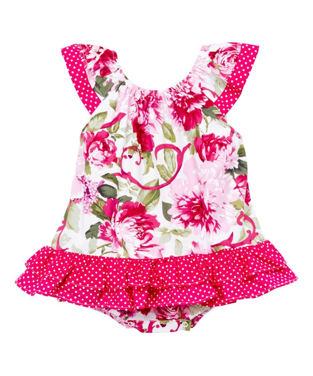 10ed98a79603 Pink Floral Angel-Sleeve Romper - Infant   Toddler