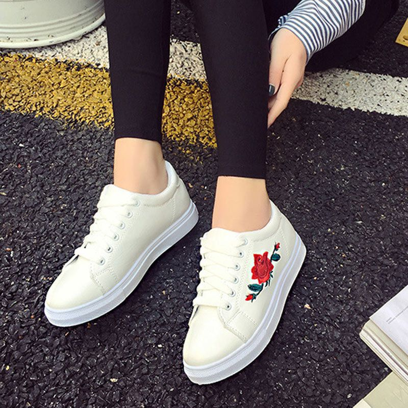 3a63089a5130  10.38 - Fashion Women Flat Shoes Spring Rose Embroidery Creepers Platform  Casual Shoes  ebay