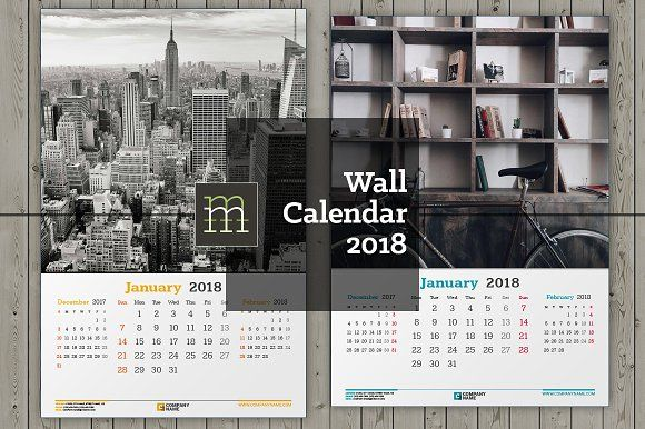 Wall Calendar 2018 (WC30) @creativework247 Stationery Design