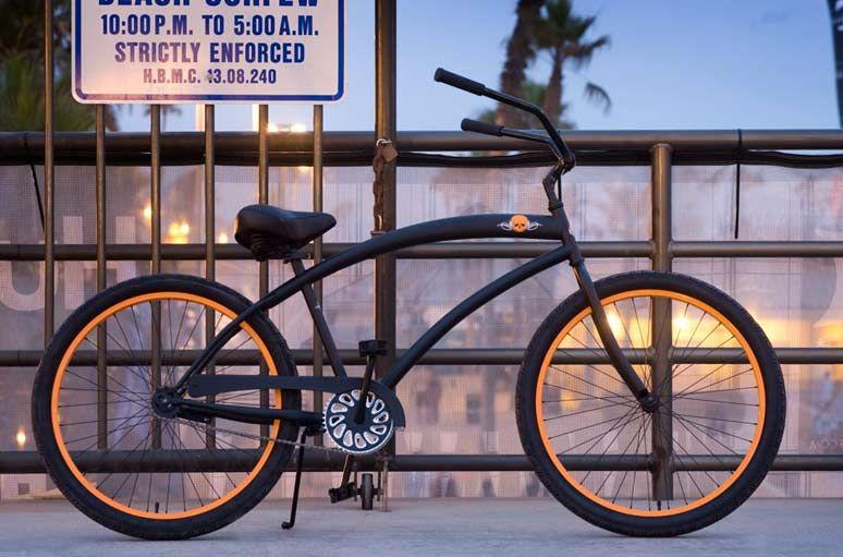 Beach Cruiser Bicycle Big Skull Black//Chrome Grips Chopper Lowrider or Bike