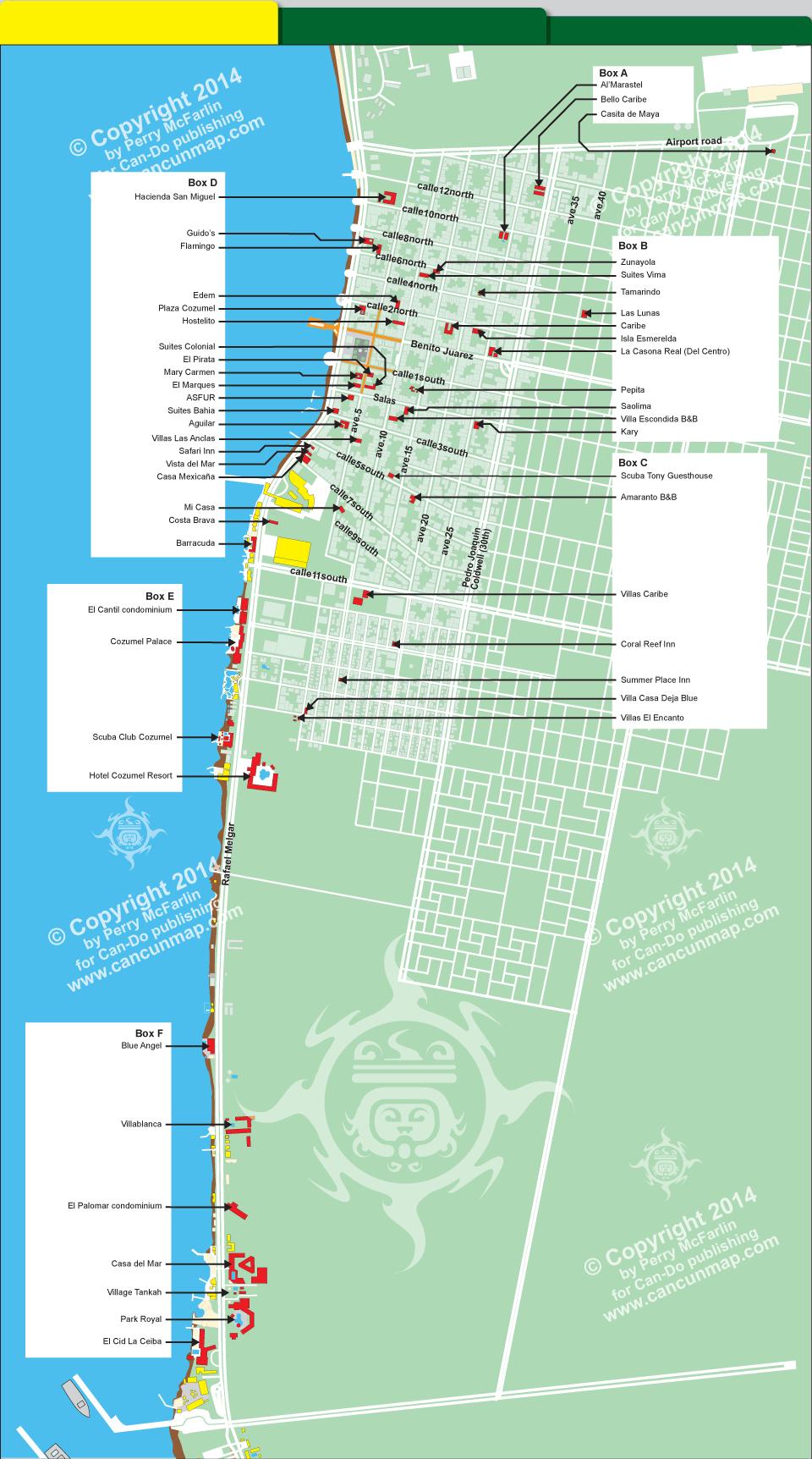 Downtown Cozumel hotel map | Cozumel for us | Cozumel, Cozumel ...